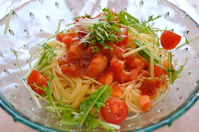 トマトの冷パスタ